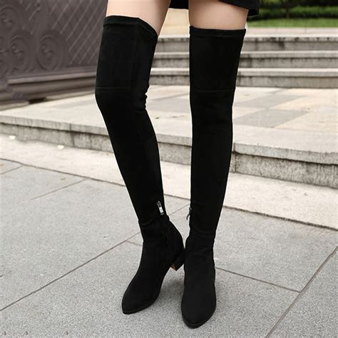 thigh high low heel boots cr boot
