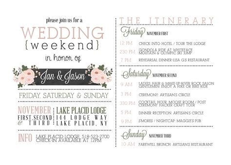 Wedding Weekend Itinerary Google Search Pinteres Weekend Itinerary Template
