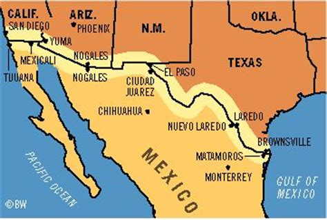map of mexico border towns us mexico border map search house of the