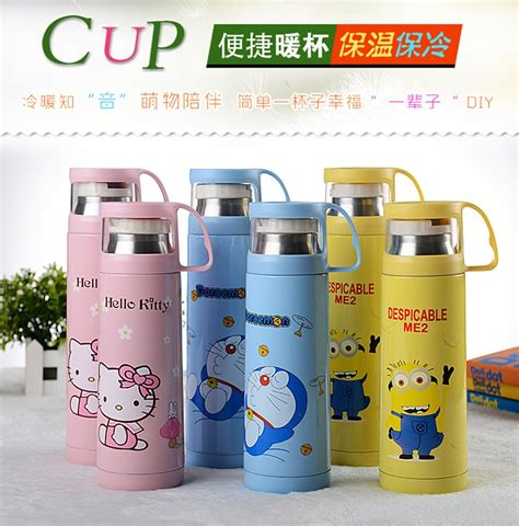Botol Thermos Kartun Dengan Penyaring 500ml Botol Thermos Kartun Stainless Steel 500ml Pink Jakartanotebook