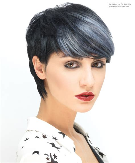 short styles for grey hair streaked black with silver highlights by paul gehring tr 232 s