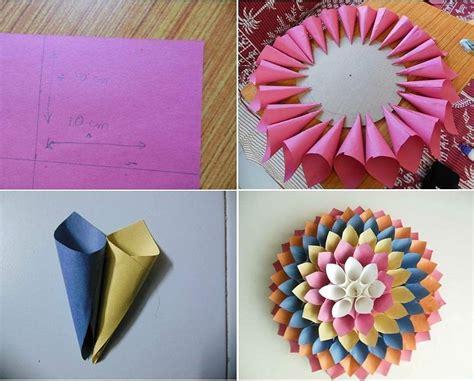 membuat hiasan dinding berbentuk bunga  kertas