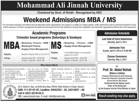 Mba In Ms by Weekend Admissions In Mba Ms In Mohammad Ali Jinnah