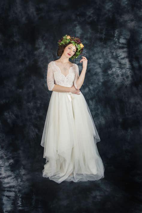 ivory lace bohemian wedding dress boho wedding dress
