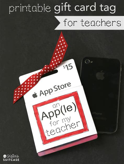 Printable Apple Gift Card - teacher gift ideas the crafting chicks