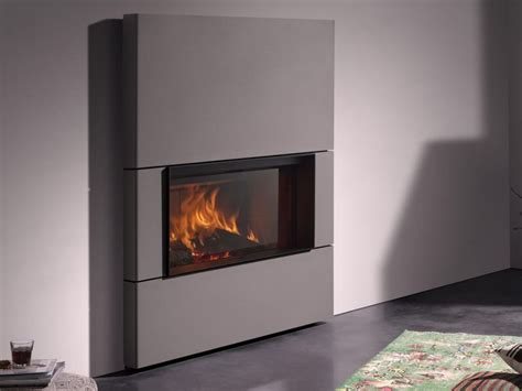 wood burning closed fireplace with panoramic glass st 219 v 22