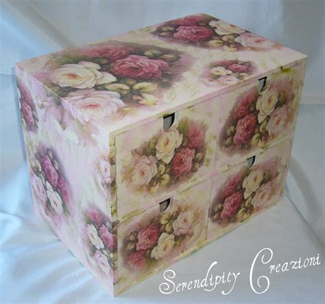 tutorial decoupage su metallo cassettiera in legno decoupage per la casa e per te