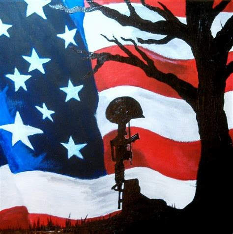 coolest cross army flag and american flag original acrylic painting from the artist