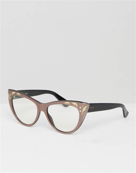 gucci gucci clear cat eye glasses with embroidered frame