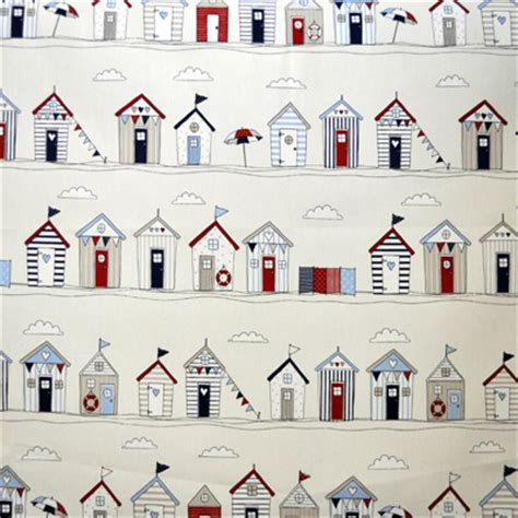 Bathroom Wallpaper Huts Seaside Fabrics Boats And Fishes Fabrics For Rooms
