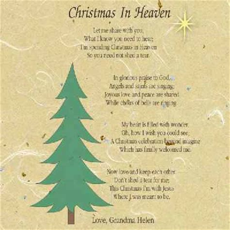 printable christmas in heaven poem memorial picture frames