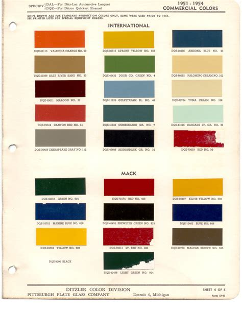 paint chips 1953 international truck commercial no 50 yuma no 106 1959 cardinal