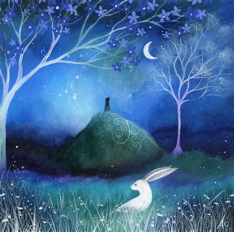 paint nite glastonbury moonlite and hare painting by amanda clark