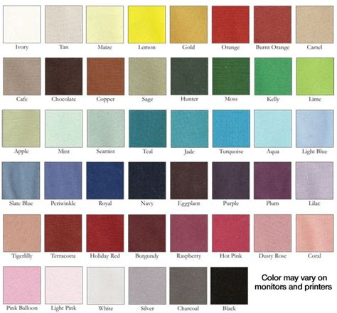 lines and colors linen color chart linen rentals in 2019 linen rentals
