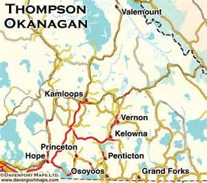 columbia maps thompson okanagan bc map driving