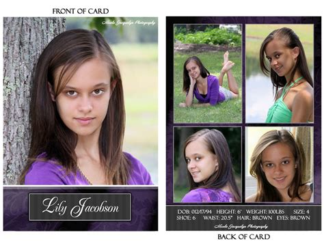 how to make a zed card modeling photography comp cards jacquelyn
