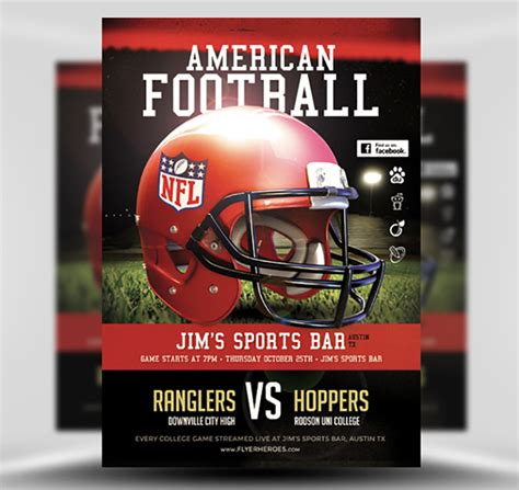 football flyer template american football flyer template flyerheroes
