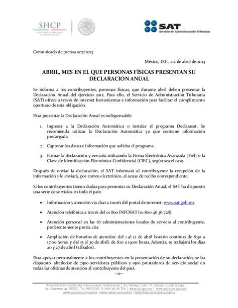 01 acuse de recibo de la declaracin abril mes en el que personas f 205 sicas presentan su