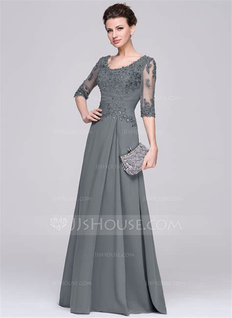 Kleider Braut by A Line Princess Scoop Neck Floor Length Chiffon Of