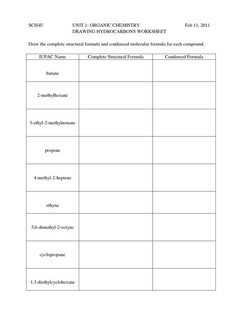 hydrocarbon nomenclature naming drawing hydrocarbons worksheet 1 organic chem pinterest