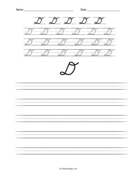 D Nealian Cursive Worksheets by D Nealian Cursive Letters Letter D Practice Worksheet