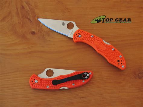 spyderco delica orange spyderco delica 4 flat ground pocket knife w orange handle
