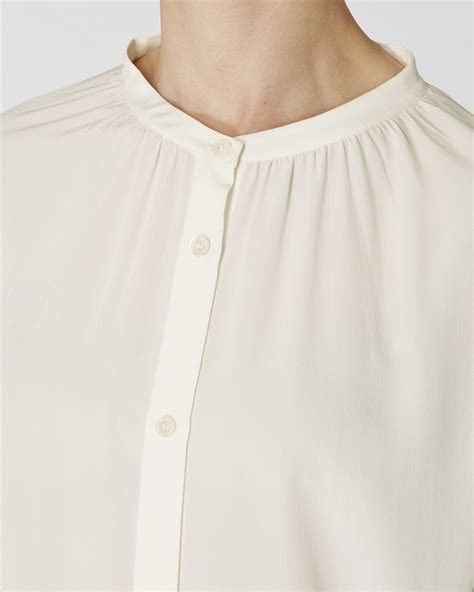Tunic Blouse White lyst jaeger silk tunic blouse in white