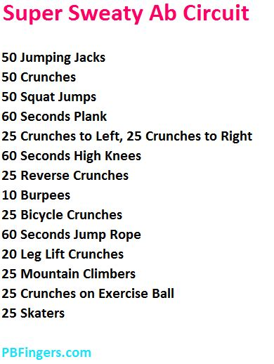 sweaty ab circuit workout peanut butter fingers