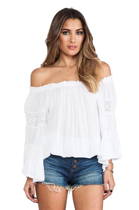 the best of the gipsy surf crochet sleeve top in white revolve