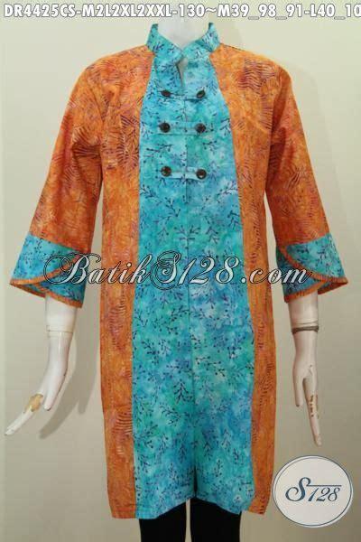 Dress Batik Cap Bantulan Kombinasi Ukuran M Berlapis Trikot baju dress modern model kombinasi dua motif bahan batik cap smoke pakaian batik trendy yang
