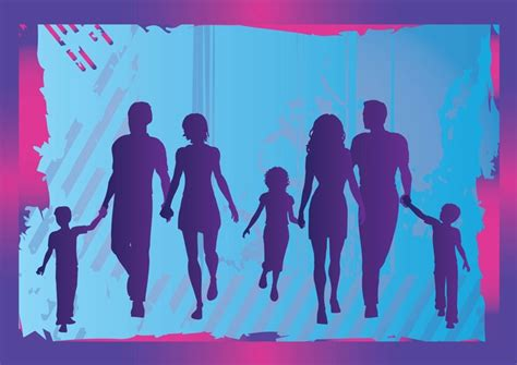 Family Background Check Family Silhouette Grunge Background Vector Free