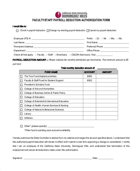 payroll deduction form template payroll deduction form sle