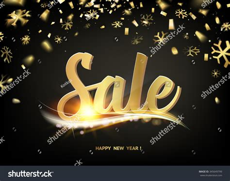 new year card sale happy new year sale card gold stock vector 345649799