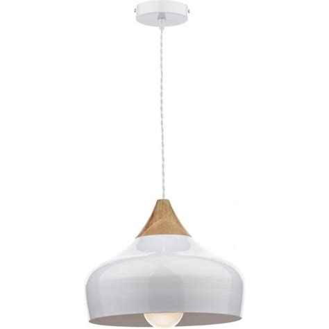 Gau0102 Gaucho Pendant Dar White Ceiling Light Wood Detail Small Pendant Ceiling Lights