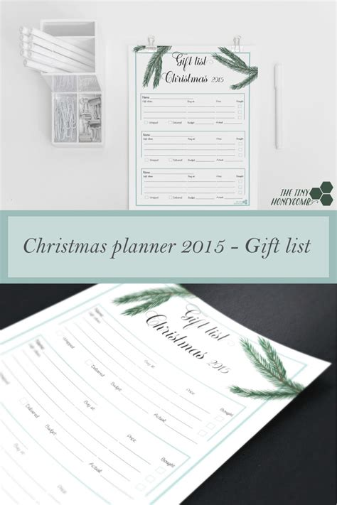 christmas planner 2015 free printable gift list printable christmas planner 2015 the tiny