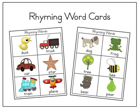 rhyming pattern activities rhyming words printable cards re pinned by pediastaff