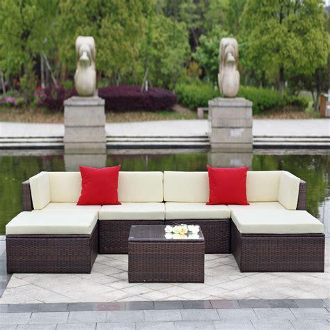 outdoor living room sets waterproof brown rattan sofa set outdoor indoor living brown ikayaa 7pcs outdoor patio garden rattan wicker