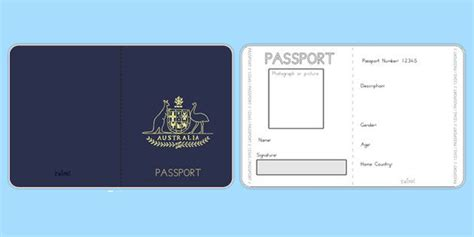 Australian Passport Template Twinkl Early Years Pinterest Student Centered Resources Editable Passport Template