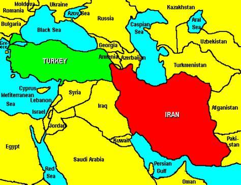 map of iran and turkey comparison of turkey and iran