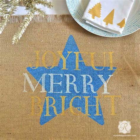 stencil   diy christmas table decor   holiday dinner paint pattern