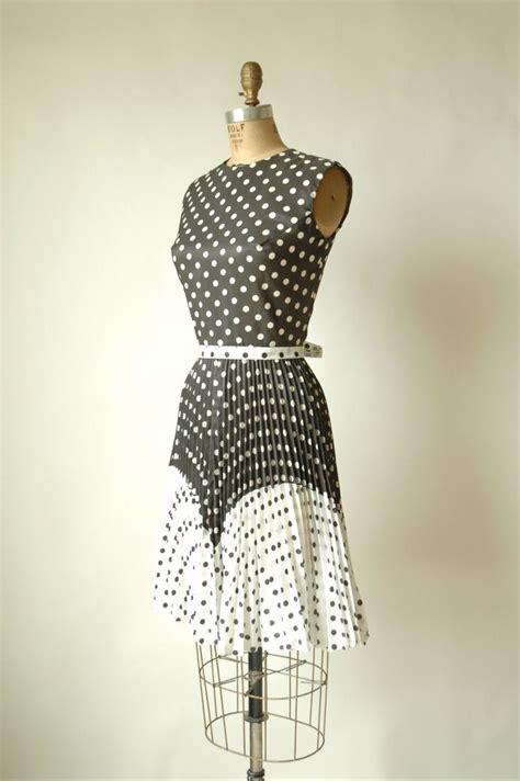 Dot Dress vintage polka dot dress 1960s black and white dress