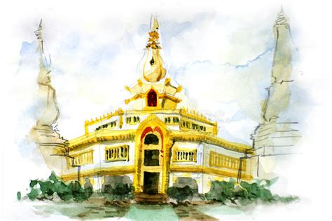 painting of thai pagoda stock image image 31489111