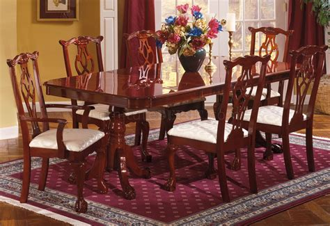 traditional dining room table cherry finish traditional dining room w pedestal table