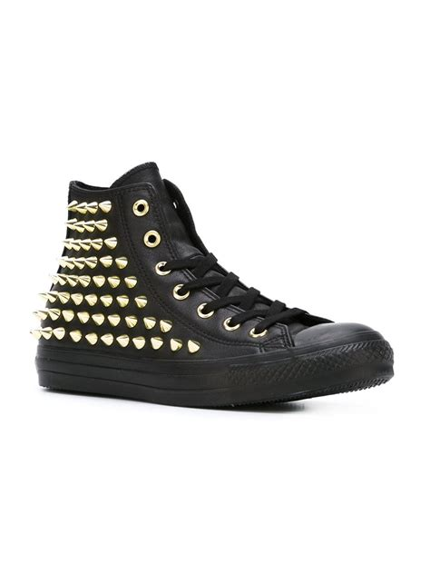 converse black sneakers converse studded sneakers in black lyst