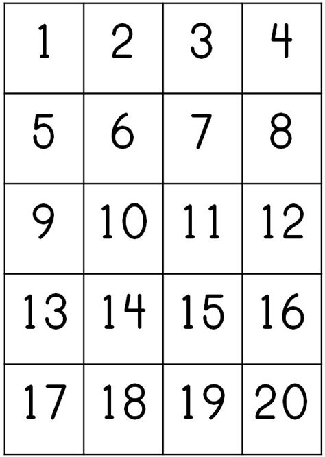 printable number square 1 20 printable number chart 1 20 activity shelter