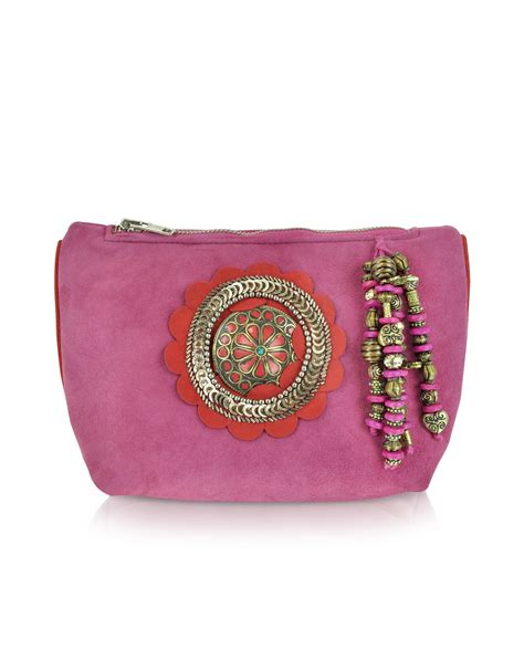 Zipper Batik Lyst Antik Batik Zippered Leather Pouch Clutch In Pink