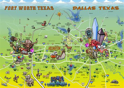 Shower Curtain Map Dallas Fort Worth Cartoon Map Painting By Kevin Middleton