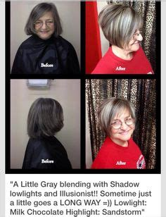 soft highlights and steely lowlights to blend her grey soft highlights and steely lowlights to blend her grey