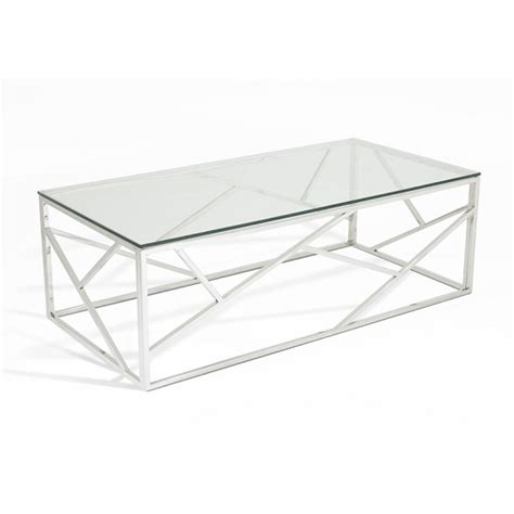 glass and stainless steel coffee table betty glass coffee table with polished stainless steel base