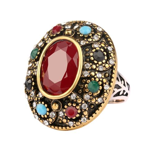 7 Vintage Looks by Luxurious Oval Big Ring Turkey Jewelry Vintage Look Inlaid